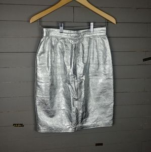 Vintage Silver Leather Skirt